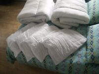 2 queen size duvets and 4 pillows