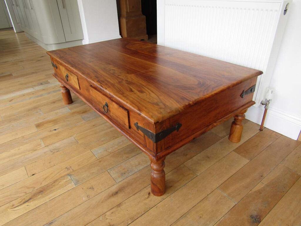 thakat sheesham maharani large coffee table with drawers vgc in