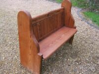 4 ft. OLD PINE CHURCH PEW. Delivery poss. Also for sale : LONGER PEWS , MONKS BENCH, TABLE & CHAIRS.