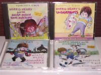 4 HORRID HENRY CHILDRENS AUDIO BOOK CD'S FOOTBALL FIEND UNDERPANTS MEGA MEAN TIME MACHINE