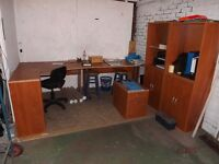 Good Condition: 1 Desk, 1 Corner Desk, 2 Wall units, 1 Book Shelf, 2 x Under Desk, Filing Cabinets