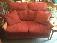 2 PARKER KNOLL 2 SEATER BERGERE STYLE SOFA'S. SOLID TEAK FRAME. COST £2100 SELL FOR £700 OVNO