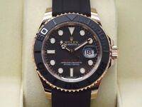rolex yacht master rose gold sapphire glass waterproof full rolex box set cards and papers