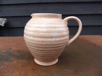 ART DECO JUG RIBBED WITH MOTTLED GLAZE MADE IN ENGLAND BY KENSINGTON WARE IN GOOD CONDITION £10