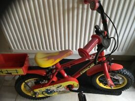 Boys Bike. Suitable 4-7 Years.t; Fire Chief t;; Very Good condition . Stableizers
