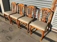 Set of 4 solid pine / solid wood dining chairs