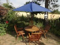 LARGE TEAK GARDEN TABLE AND 4 CHAIRS --ALEXANDER ROSE --PARASOL + BASE --