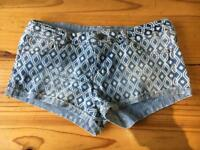 Size 10 patterned blue denim shorts