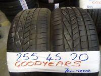 MATCHING PAIR 255 45 20 GOODYEARS 7MM TREAD £100 PAIR SUPP & FITD (loads more av}