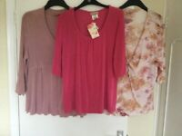 3 brand new XXL Kim and Co tops Shades of pink 44inch