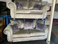 NEW - EX DISPLAY SOFOLOGY 3 SEATER + 2 SEATER SILVER GREY VELVET SOFAS 70% Off RRP