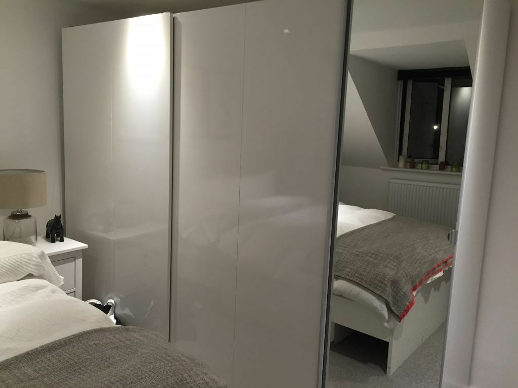 Extra Large Ikea Pax Wardobe White And Mirror Sliding Hinged Doors