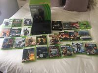 Xbox 360 slim (250gb) plus 24 games and xbox wireless wheel