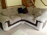 Jumbo Cord and Leather Mink Brown Corner/L-shaped Sofa and Armchair