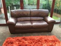 Land of Leather Brown Leather 3 Seater Sofa Good Condition