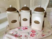 Shabby chic, french country style tea, coffee & sugar canisters