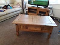 Coffee table, fairly good condition, some markings, £20. TV unit, fairly good condition, £30.