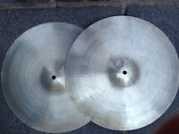 "PAIR OF VINTAGE ZYN 14"" HI-HAT CYMBALS, MANUFACTURED IN THE UK BY PREMIER"