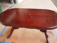 coffee table, big scratch on it, ideal for shabby project