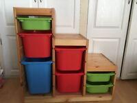 IKEA 'Trofast' Storage unit and boxes
