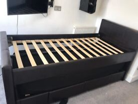 TOP QUALITY LEATHER SINGLE BED WITH GUEST BED