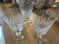 3 x footed highball glasses. Lead crystal