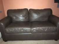 Dark brown leather settee 2 seater