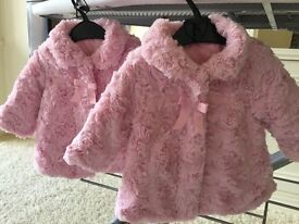 Baby girl Pink fur jackets. 3-6 months