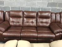 Brown leather recliner 3 seater sofa and 2 x Armchairs