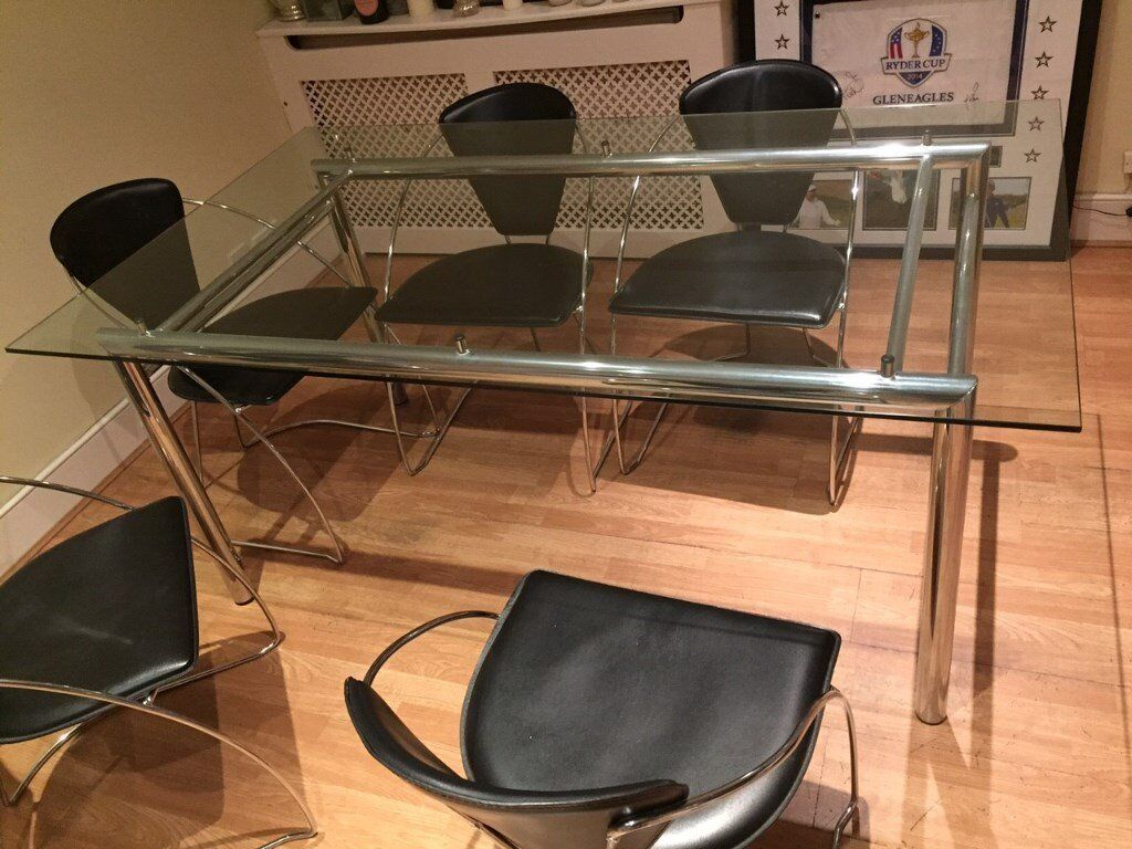 Dining Table (Glass with Chrome) and 6 Chairs (Black Leather with Chrome)