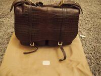 Radley Grosvenor mock-croc dark brown leather shoulder bag.