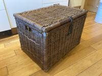 Large Wicker Basket Storage Trunk
