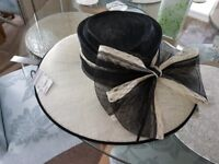 Beautiful, new and still with tag on Large shape black and cream hat from Debenhams - Cost £75