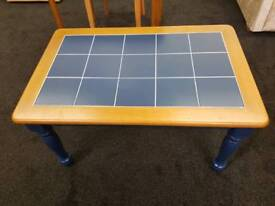 Coffee table. Blue tile top. £35