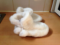 Girls toddler size 7 white fluffy slippers from Next - BRAND NEW!!!!