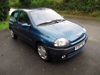 LOW MILEAGE CLIO ALIZE, A/C, LOW INSURANCE, 50 MPG, MOT NO ADVISORIES, PART-EXCHANGE WELCOME