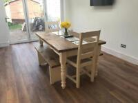 Solid wood dining table with 2 chairs & 2 benches