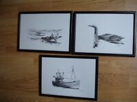 Three Black and White Prints by Paul Phillips