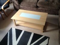 IKEA Styled Wood and Glass Coffee Table