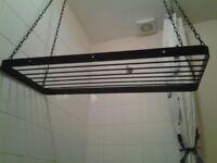 Hanging kitchen pan rack