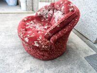 nice fabric chair dark red/gold