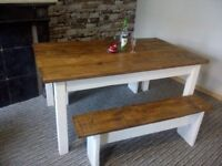 solid reclaimed wood dining tabl set