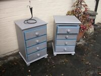 Pair of four drawer solid wood painted bedside chests