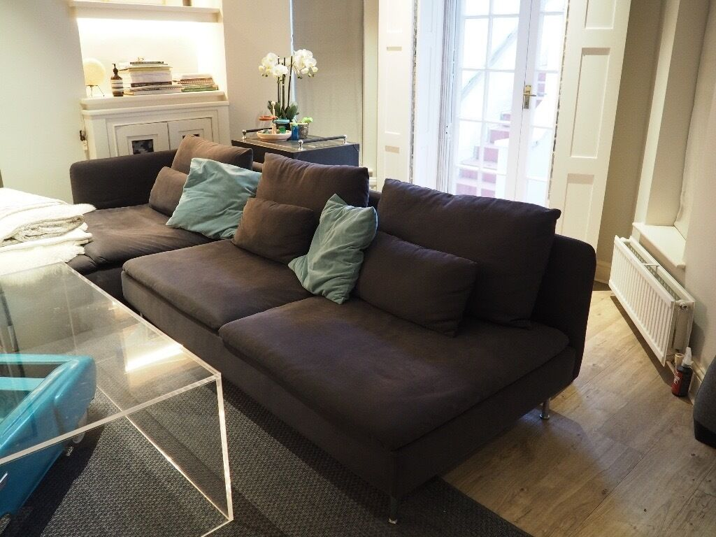 IKEA SODERHAMN Three seat sofa and chaise long also sofa bed Samsta dark grey SÖDERHAMN