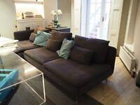 IKEA SODERHAMN Three-seat sofa and chaise long (also sofa bed), Samsta dark grey (SÖDERHAMN)