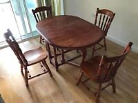 FOLDING DINING TABLE, 4 SEATER, ANTIQUE, EXCELLENT FURNITURE, BARGAIN!
