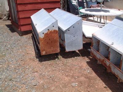 Vintage Chicken Hen 6 Nest Box Rusty Industrial Galvanized Metal Egg Collector