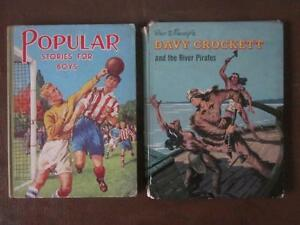 Two-Vintage-Childrens-Books-Popular-Stories-for-Boys-Davy-Crockett-Disney