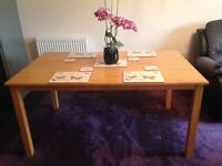6 seater solid oak table