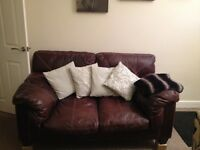 Chocolate brown leather sofa for sale in claycross chesterfield £175 ono
